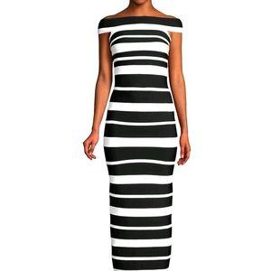 NWT$1990 Herve Leger Striped Column Gown Dress